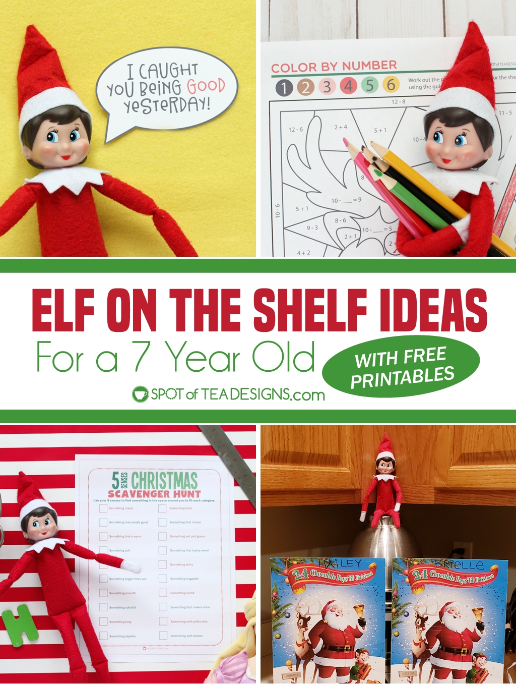 Elf on the shelf ideas for a 7 year old - printable schedule and links to free printable activity sheets | spotofteadesigns.com
