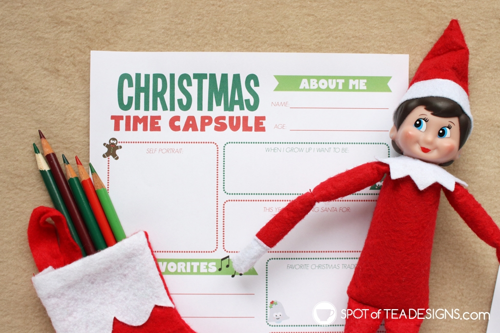 Elf on the Shelf Ideas: Christmas Time Capsule Free Printable | spotofteadesigns.com
