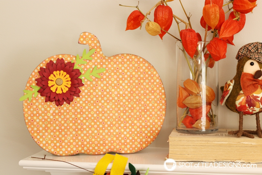 Fall Mantle Craft - Dollar Store Wood Pumpkin Makeover | spotofteadesigns.com