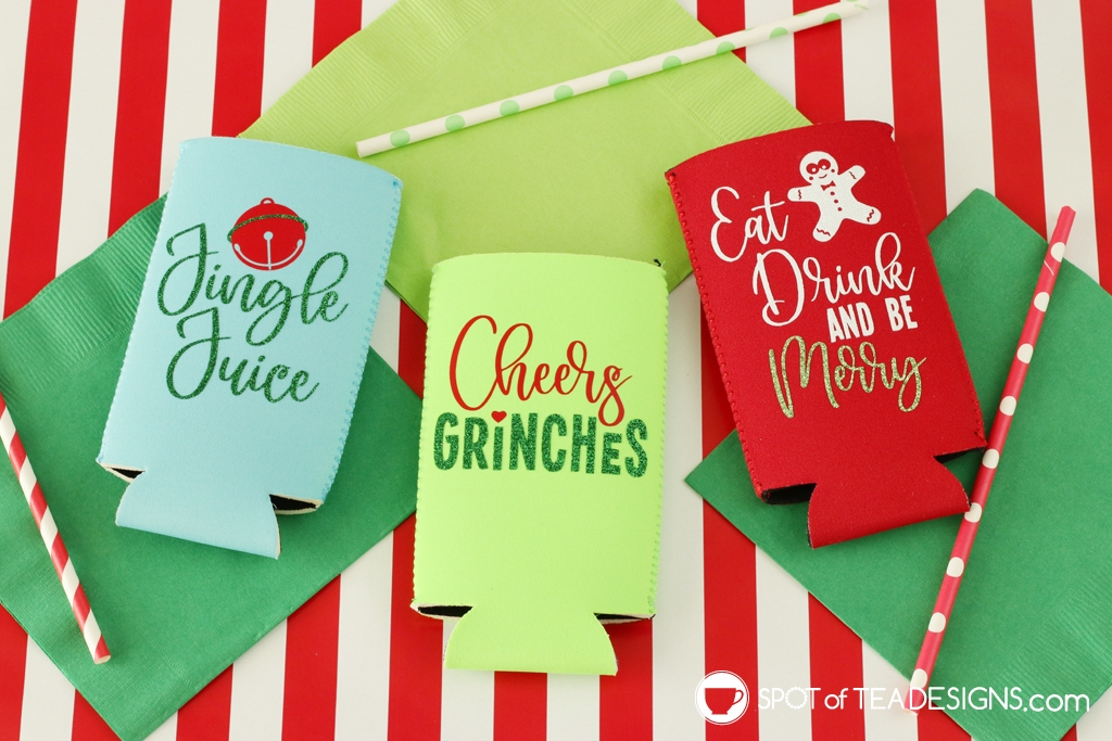 Christmas slim can koozies - free svg cut file! | spotofteadesigns.com