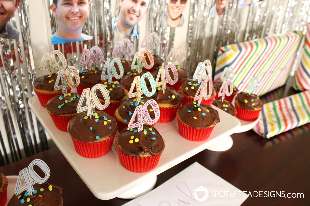DIY 40th Birthday Party Decorations - color your own cupcake picks | spotofteadesigns.com