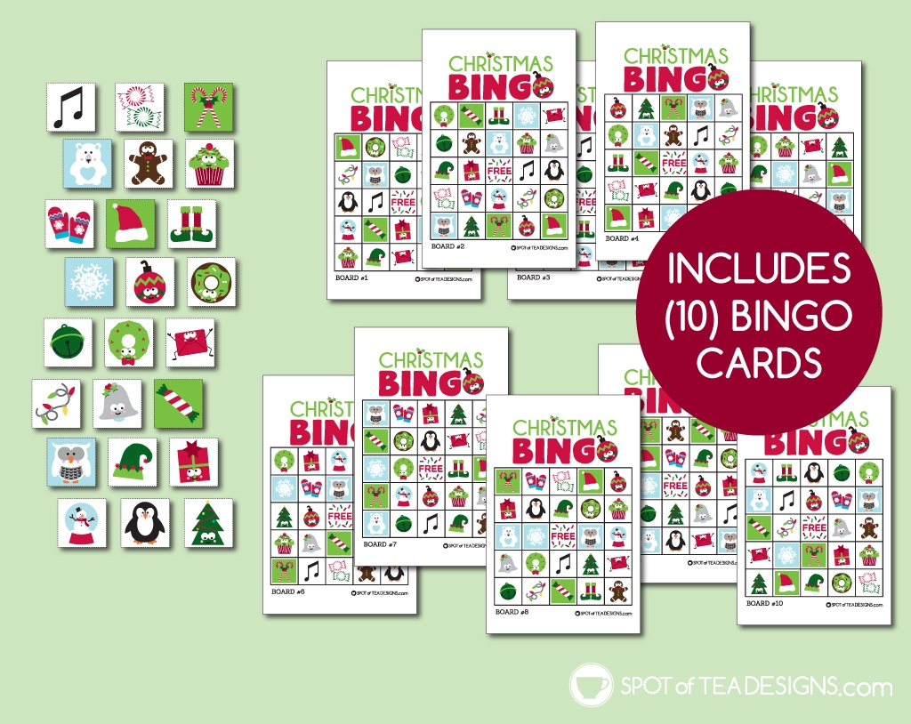 Christmas 2020 printables - printable bingo to play over zoom! | spotofteadesigns.com