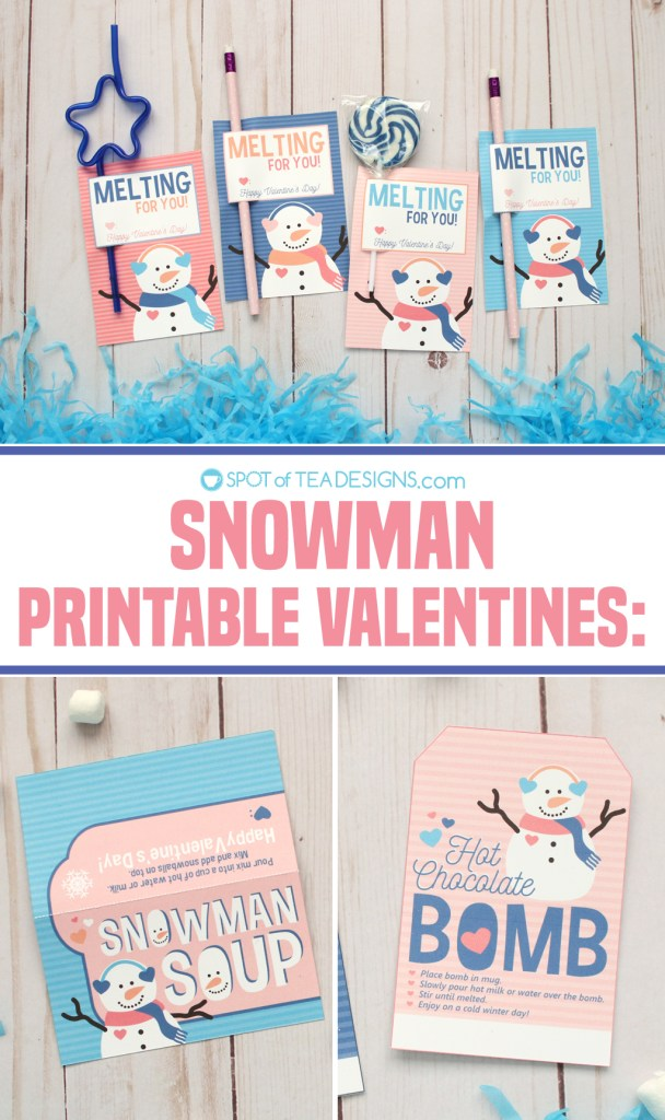 Printable Valentine Snowman Bag Toppers - pencil holders, hot chocolate bomb tags and snowman soup bag toppers | spotofteadesigns.com