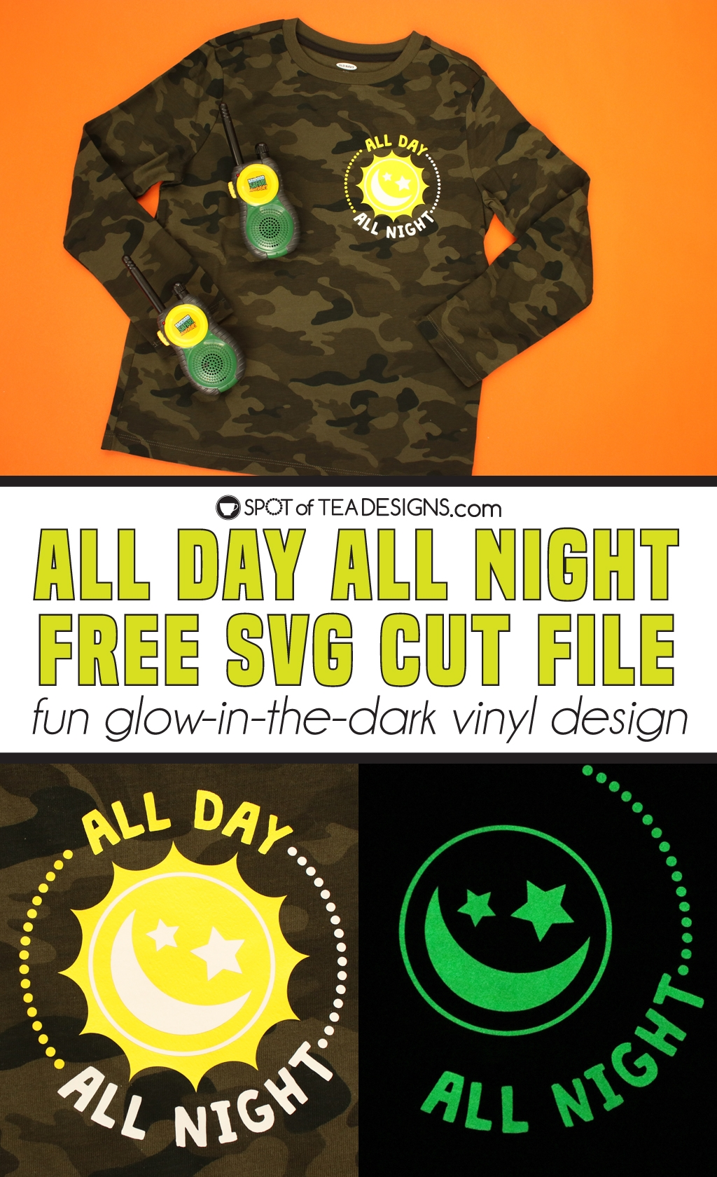 All Day All Night T-shirt - Free SVG Cut File | spotofteadesigns.com