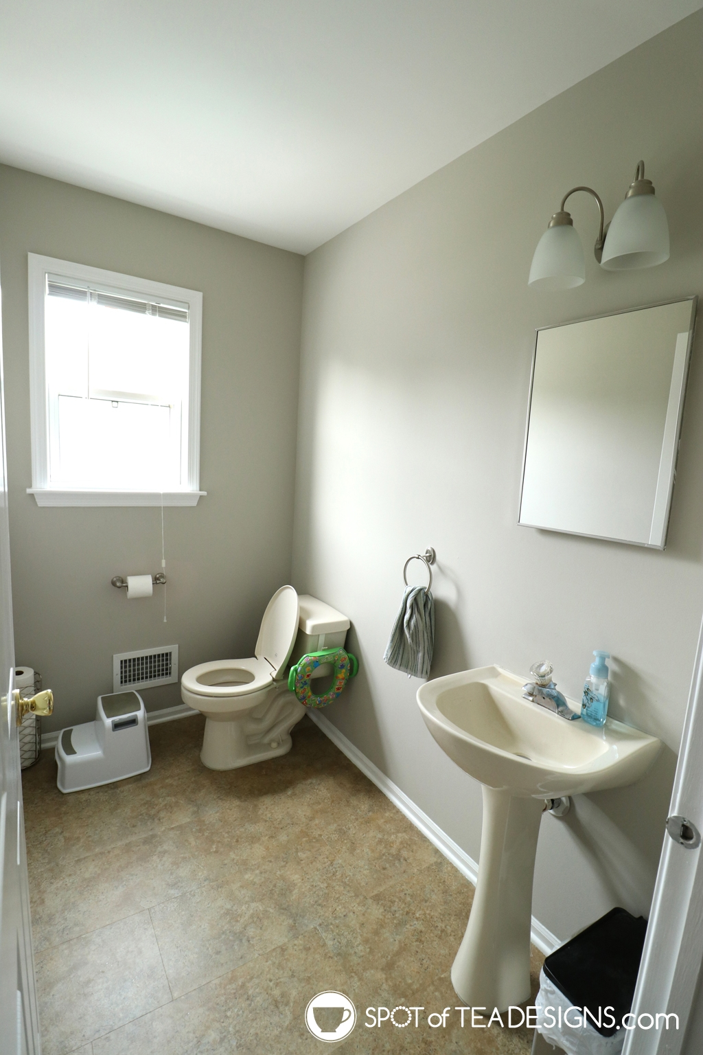 Modern Half Bathroom Remodel - Before photos | spotofteadesigns.com