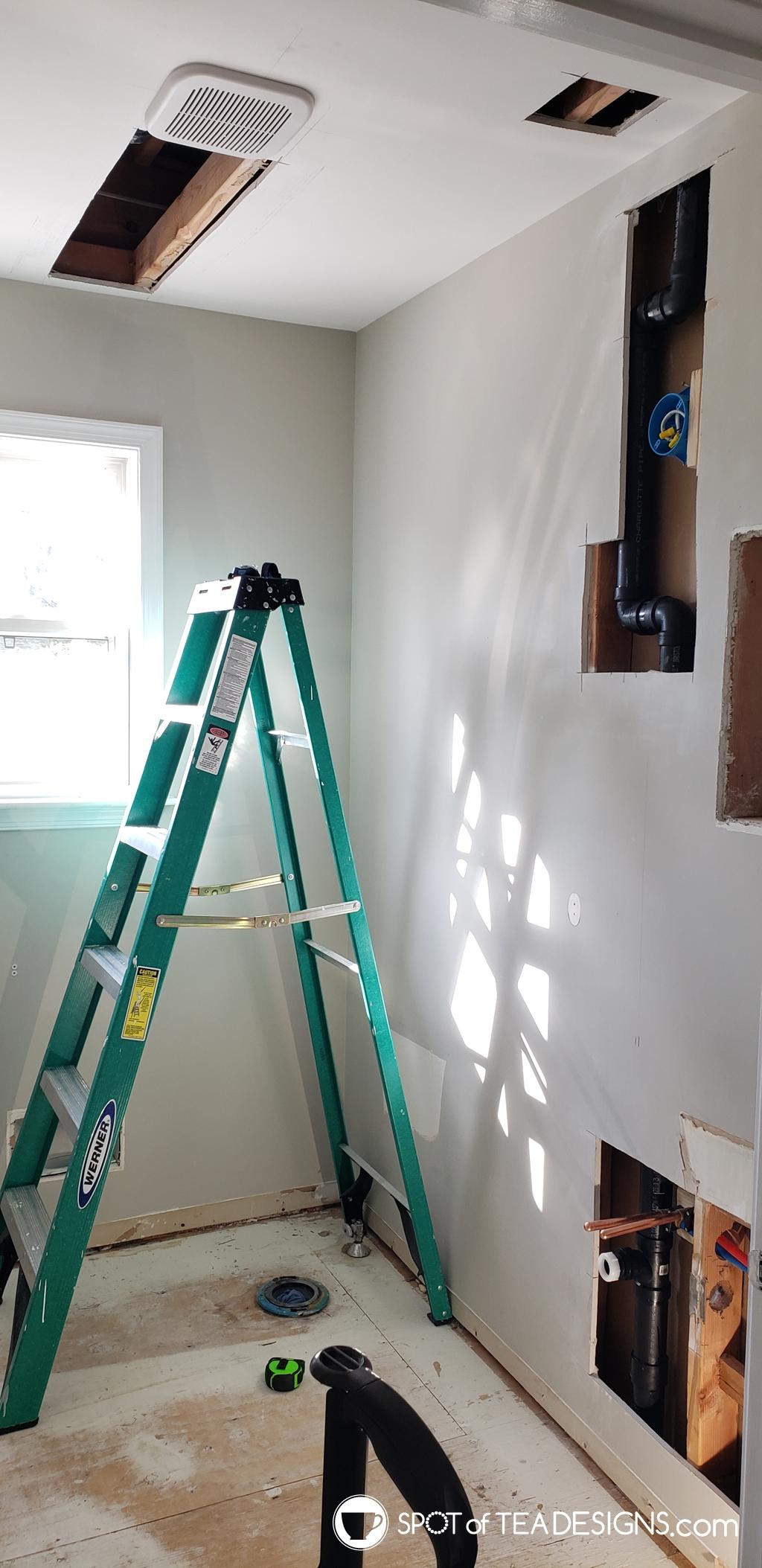 Modern Half Bathroom Remodel - in progress construction | spotofteadesigns.com