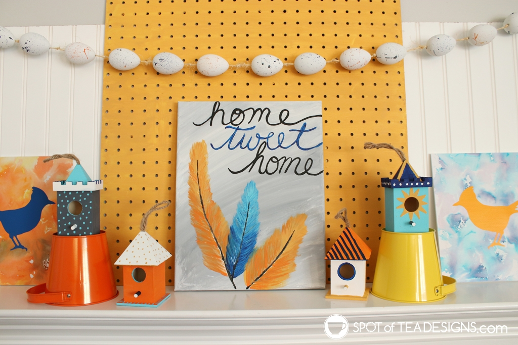 Home Tweet Home Spring Mantle filled with DIY crafts | spotofteadesigns.com