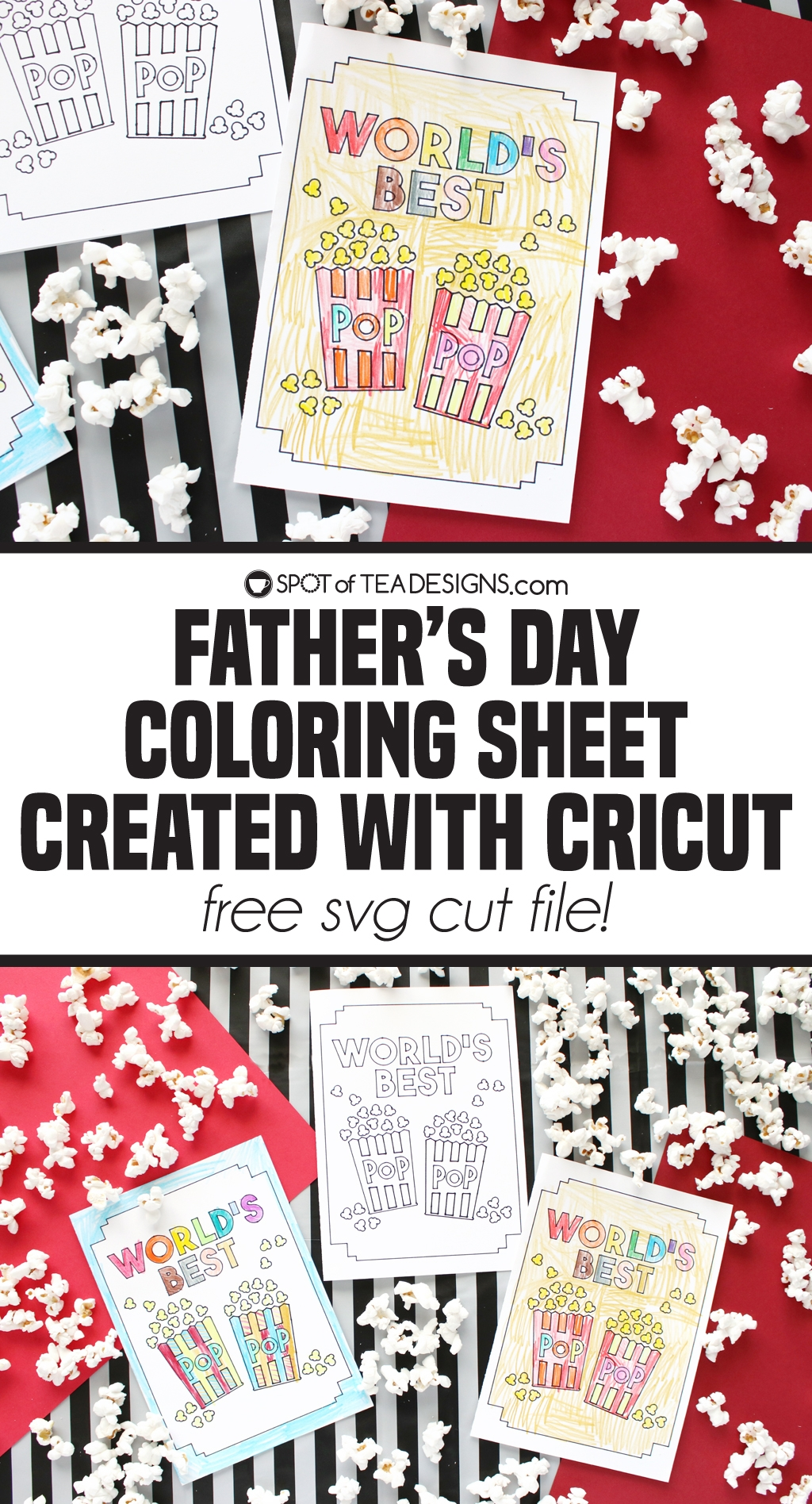 Father's Day Coloring Sheet created with Cricut - Free svg cut file and tutorial   spotofteadesigns.com