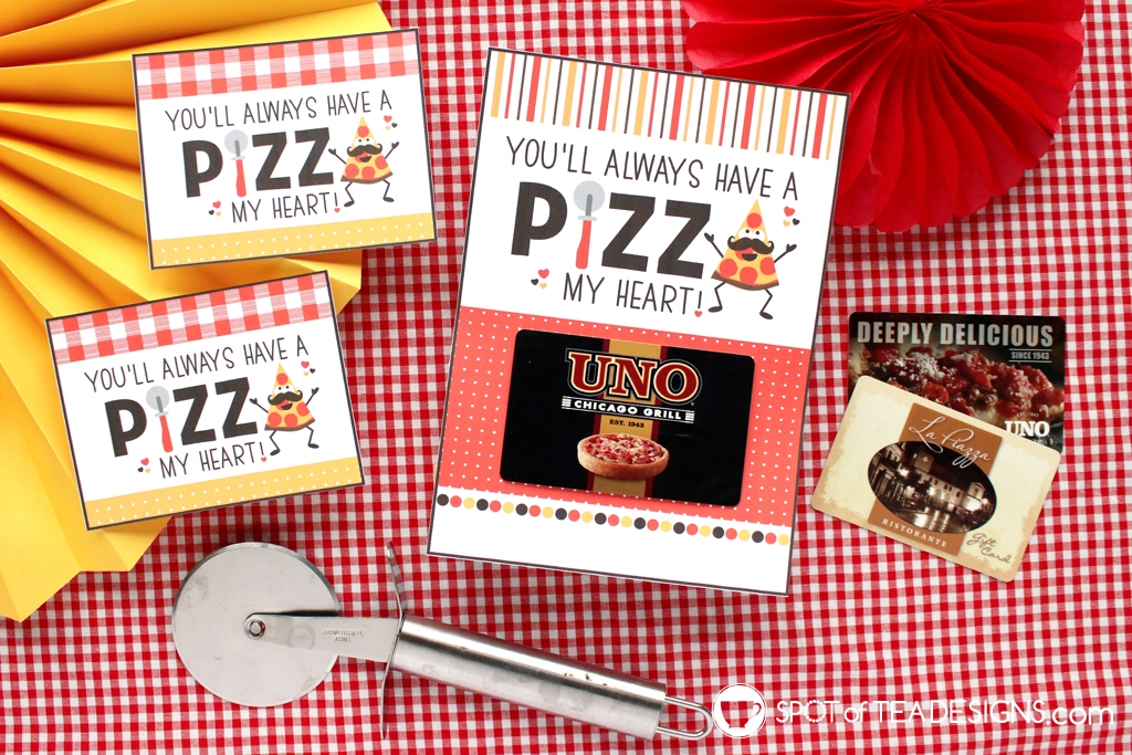 Pizza my heart Father's Day Printables - gift card holder. add gift card for pizzeria or favorite Italian Restaurant | spotofteadesigns.com