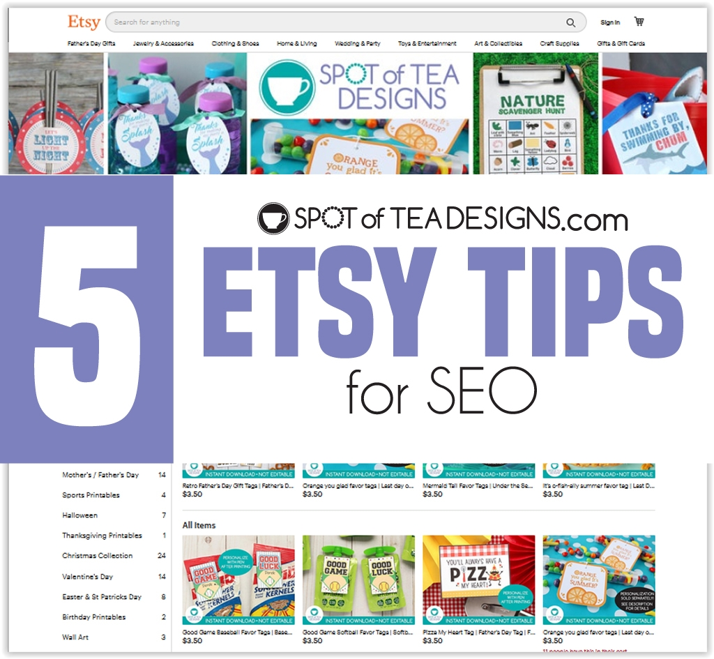 5 Etsy tips for SEO, search engine optimization | spotofteadesigns.com