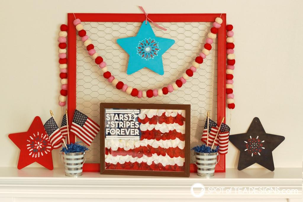 Patriotic fireplace mantle - painted star mandalas | spotofteadesigns.com
