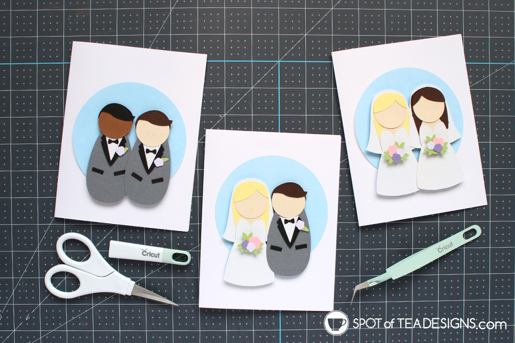 Wedding couples SVG cut file - all different pairings and you can change skin and hair colors!   spotofteadesigns.com
