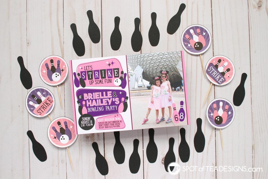 Girls bowling party invitation | spotofteadesigns.com