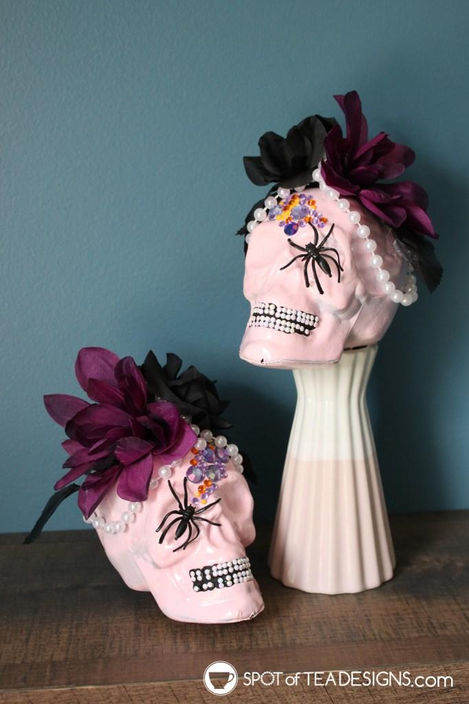 DIY Pastel Halloween Skull Decor   spotofteadesigns.com