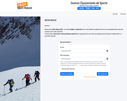 Application Gestion équipement sports