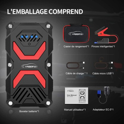 Booster Batterie, 1000A 13800mAh Booster Batterie Moto (Trail & MaxiTrail) avec Lampe LED,Deux Ports USB
