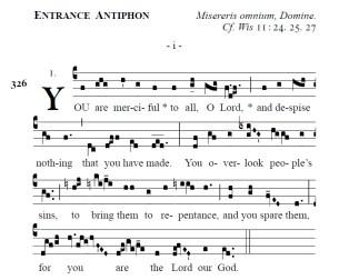 Proper of the Mass - Ash Wednesday Entrance Antiphon (i)