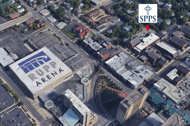 aerial view of SPPS and Rupp Arena