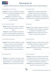 Rollenspiele A1 Sprechübung Gesprächsanlass Dialoge üben