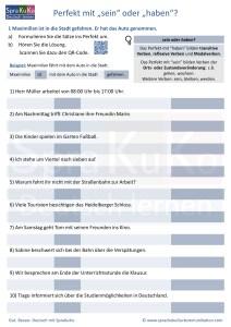 Arbeitsblatt - Kopiervorlage Perfekt mit sein oder haben?!