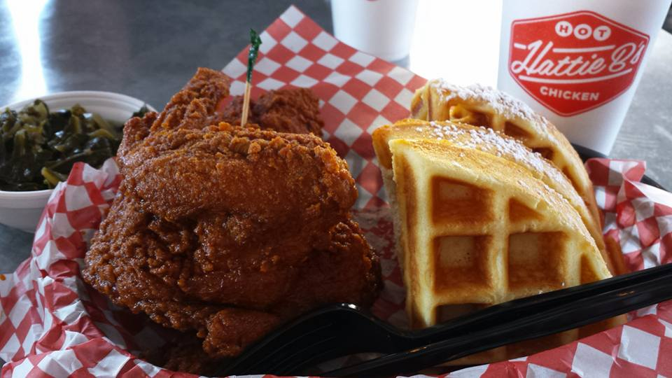 Hattie B's chicken and waffles on a splendid Sunday...morning.
