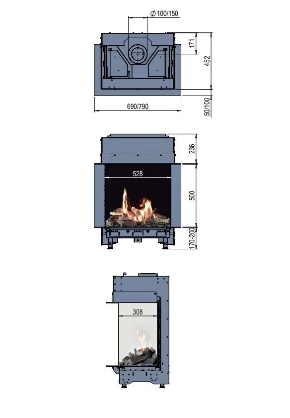 Faber MatriX 450/500 III Gas Fire 3 Sided