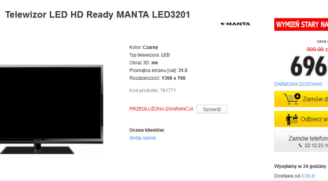 Manta led tv 32 cale za 696 zł