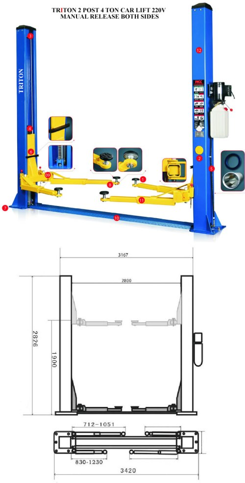 small resolution of 2 post 4ton car lifts 220v manual release 021 5562413