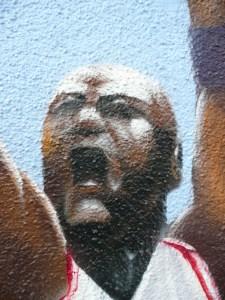 Graffitiauftrag B-Baller Gesicht Detailansicht