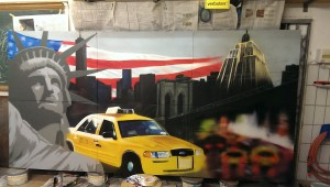 Graffitiauftrag New York Leinwand fast fertig