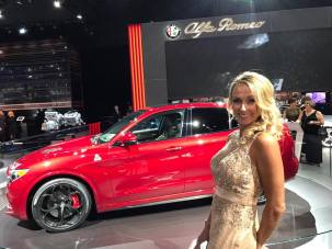 Sharla at the Detroit Auto Show Charity Preview 2017 with a custom airbrush tan mix of Venetian and Winter Glow.