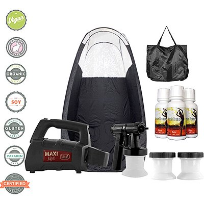 Maxi-Mist Lite Plus Sunless Spray Tanning KIT Tent Machine - Black