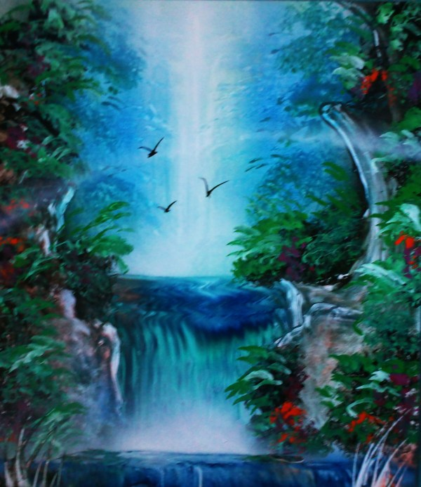 Painting Waterfalls With Spray Paint Art
