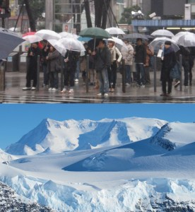 Na gornjoj slici možete vidjeti kako grad izgleda kada najave da će malo zahladiti, a na donjoj kako vaša majka zamišlja kako grad izgleda kada najave zahlađenje.