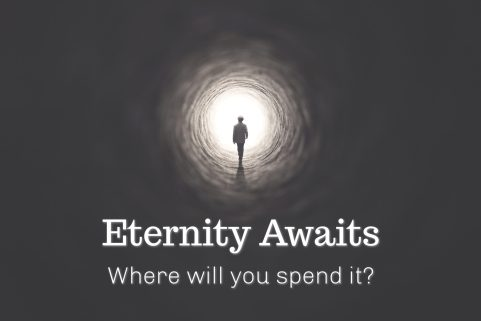 Person walking towards a light at the end of a dark tunnel. Photo represents coming face to face with the realization of heaven or hell after death because eternity awaits. Where will you spend it?
