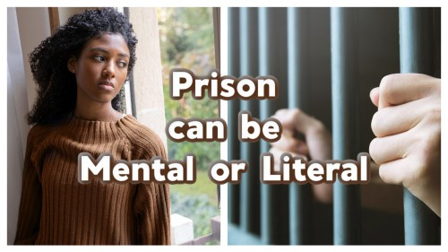 Photo 1 is of a black woman looking out a window while in deep thought. Photo 2 of a white person's hands holding prison cell bars. Represents To the prisoner of hope.