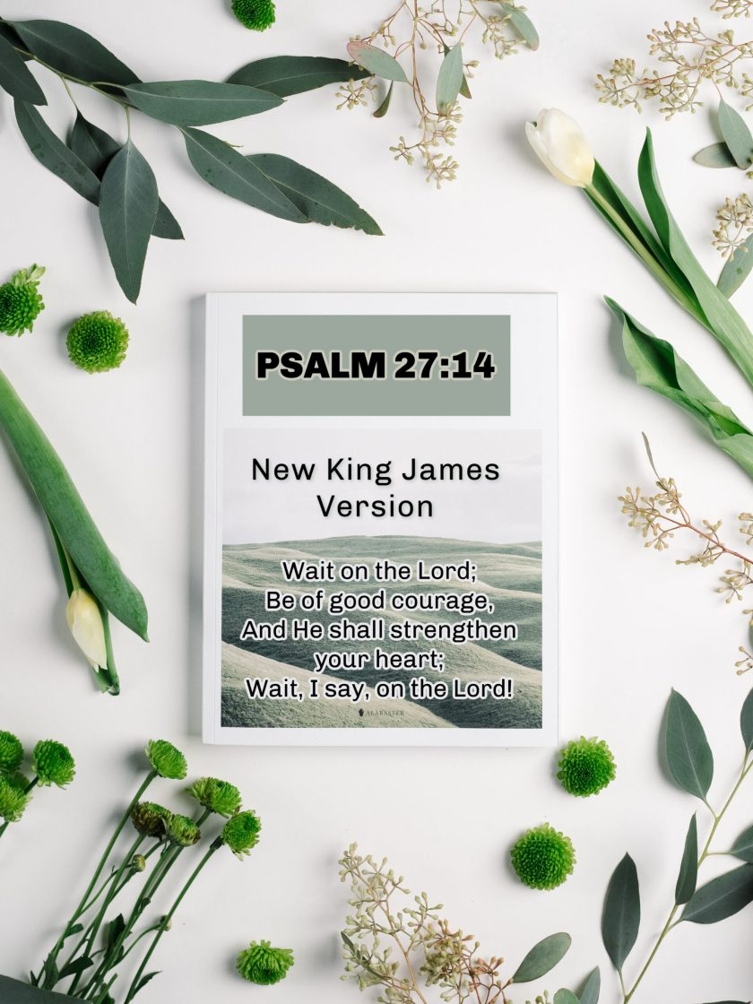 """Photo with the scripture Psalm27:14. It says, """"14 Wait on the Lord; be of good courage, and He shall strengthen your heart; wait, I say, on the Lord!"""""""