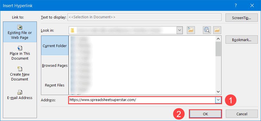 Create a hyperlink