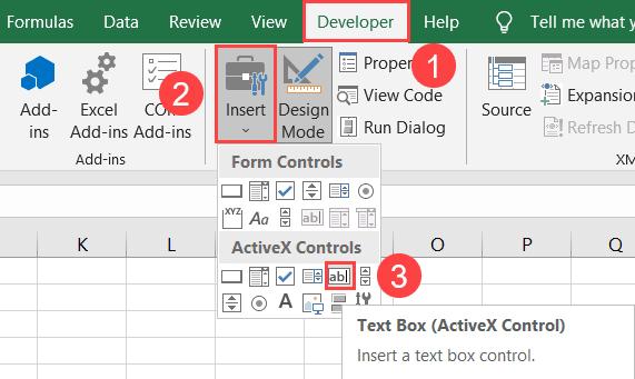 Create a text box using ActiveX control
