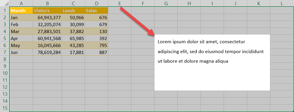 Freeze a text box in Excel