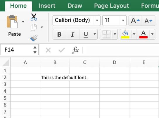 Default font in Excel (Calibri)