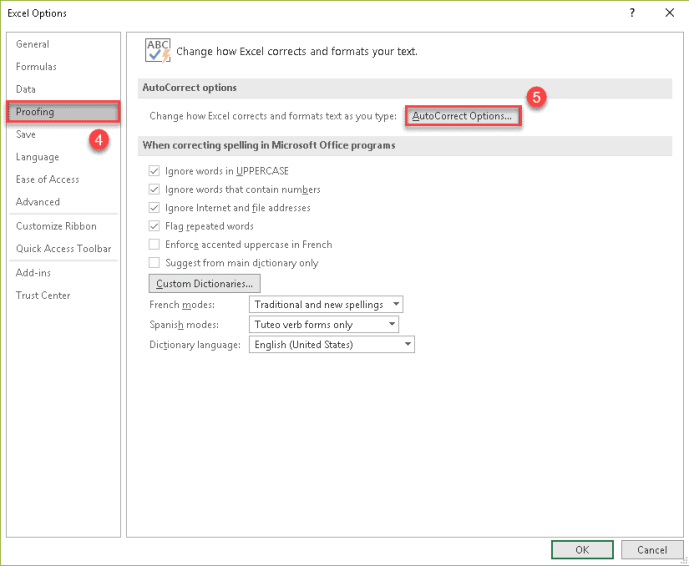 Excel options proofing tab