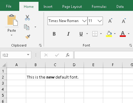 Times New Roman as the new default font in Excel