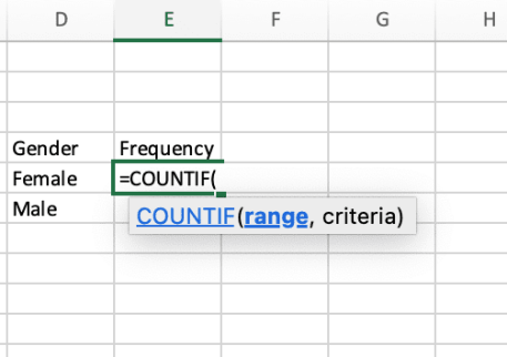 Use COUNTIF formula female