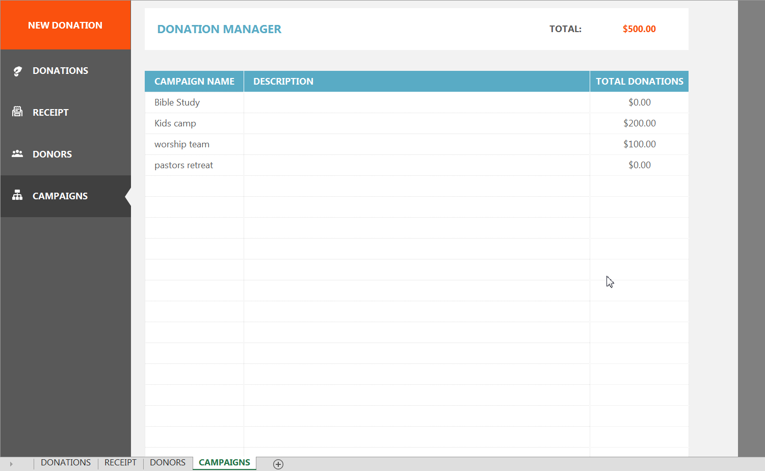 Donor Tracking Spreadsheet Gt Donor Management Excel