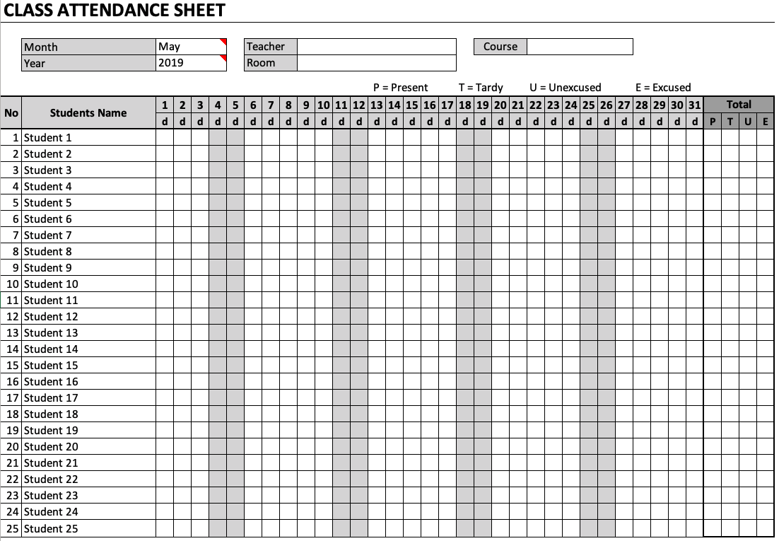 hight resolution of Class Attendance Sheet » The Spreadsheet Page