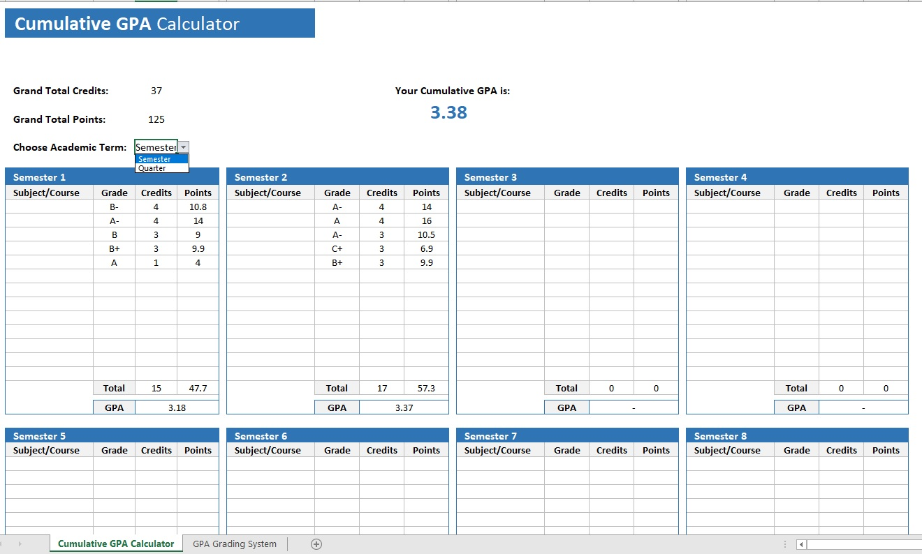 hight resolution of Cumulative GPA Calculator » The Spreadsheet Page
