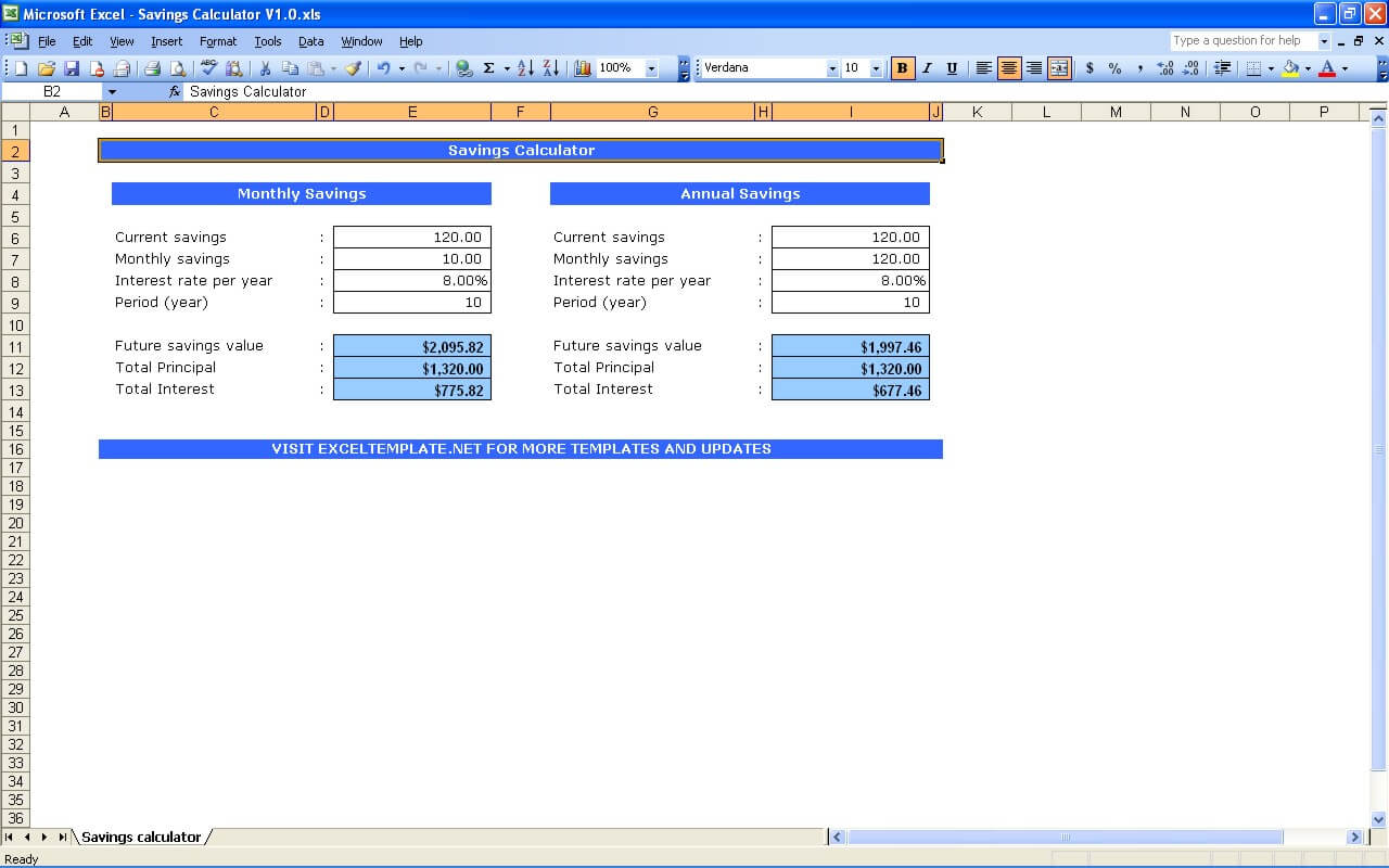 Add your own savings categories down the side of the spreadsheet similar to the picture. Savings Calculator The Spreadsheet Page