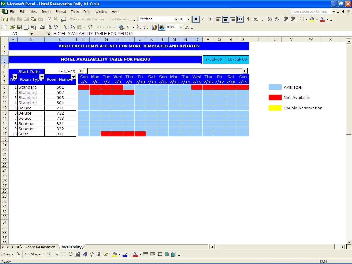 This is an accessible schedule of events template. Booking And Reservation Calendar The Spreadsheet Page