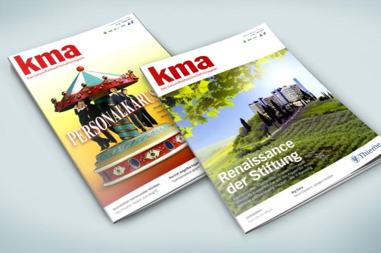 Covergestaltung, Covermontage für kma, das gesundheitswirtschaftsmagazin